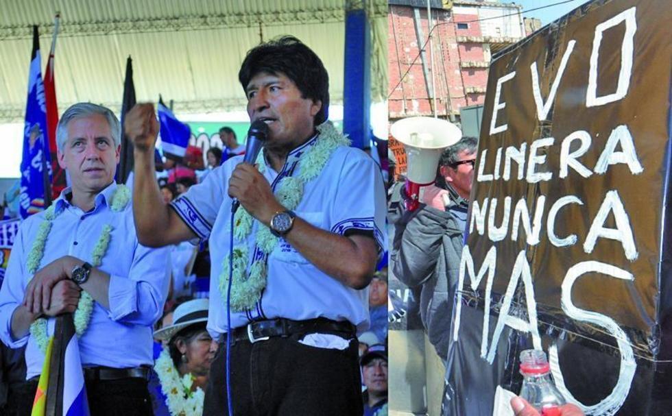 Izquierda: Evo Morales habla en Montero. Derecha: una pancarta en la que rechazan la pretensión oficialista.
