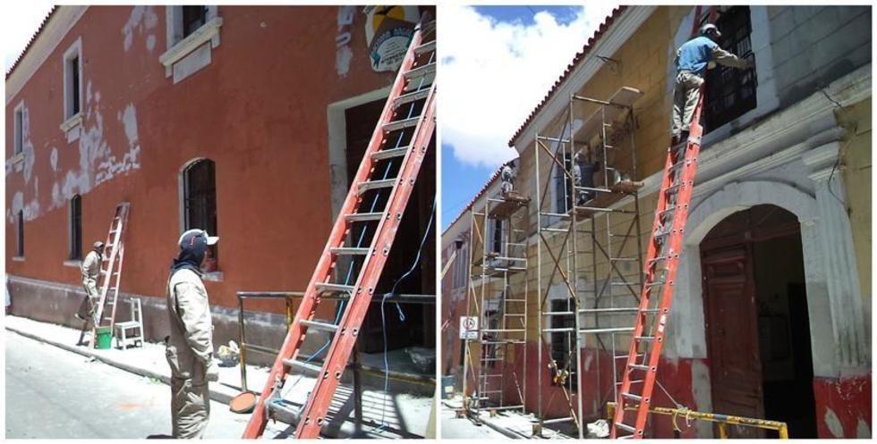 Las fachadas de las unidades educativas 1º de Abril y Macedonio Nogales están siendo reparadas.