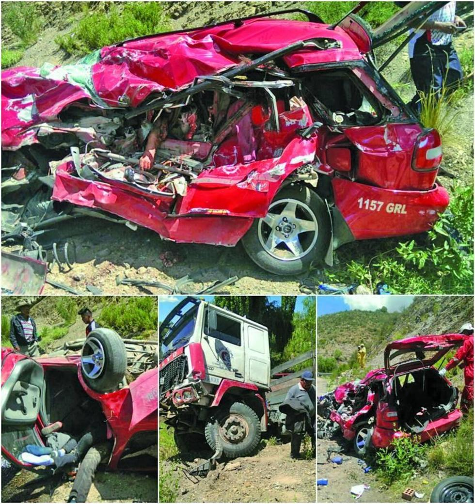 Así quedó el vehículo en el que fallecieron cuatro personas.