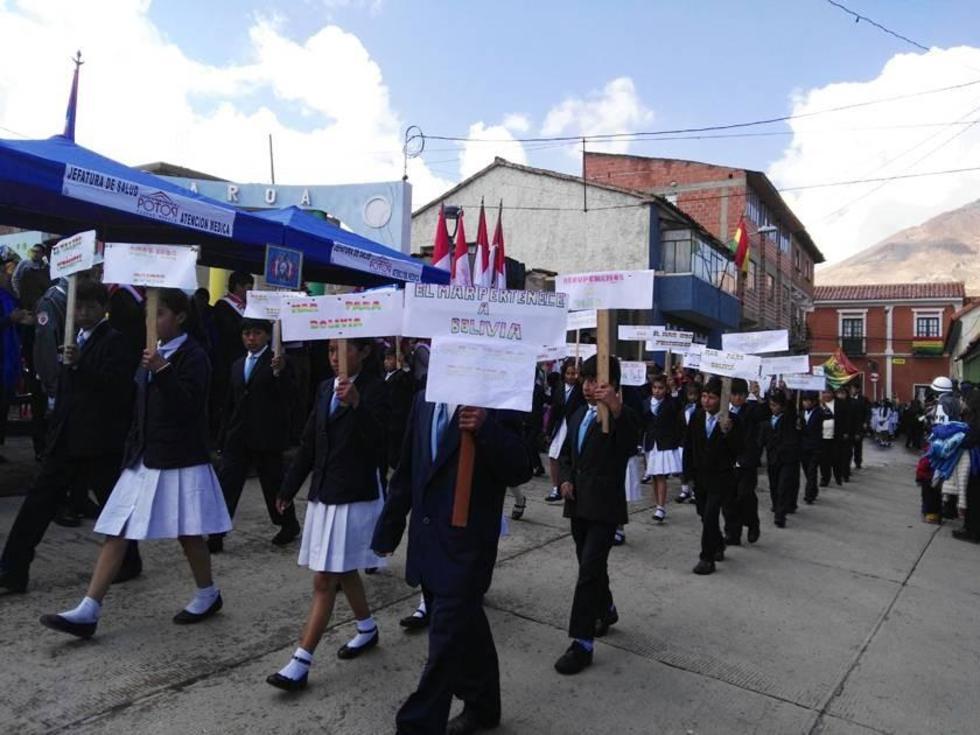Estudiantes de la escuela Manuel Belgrano.