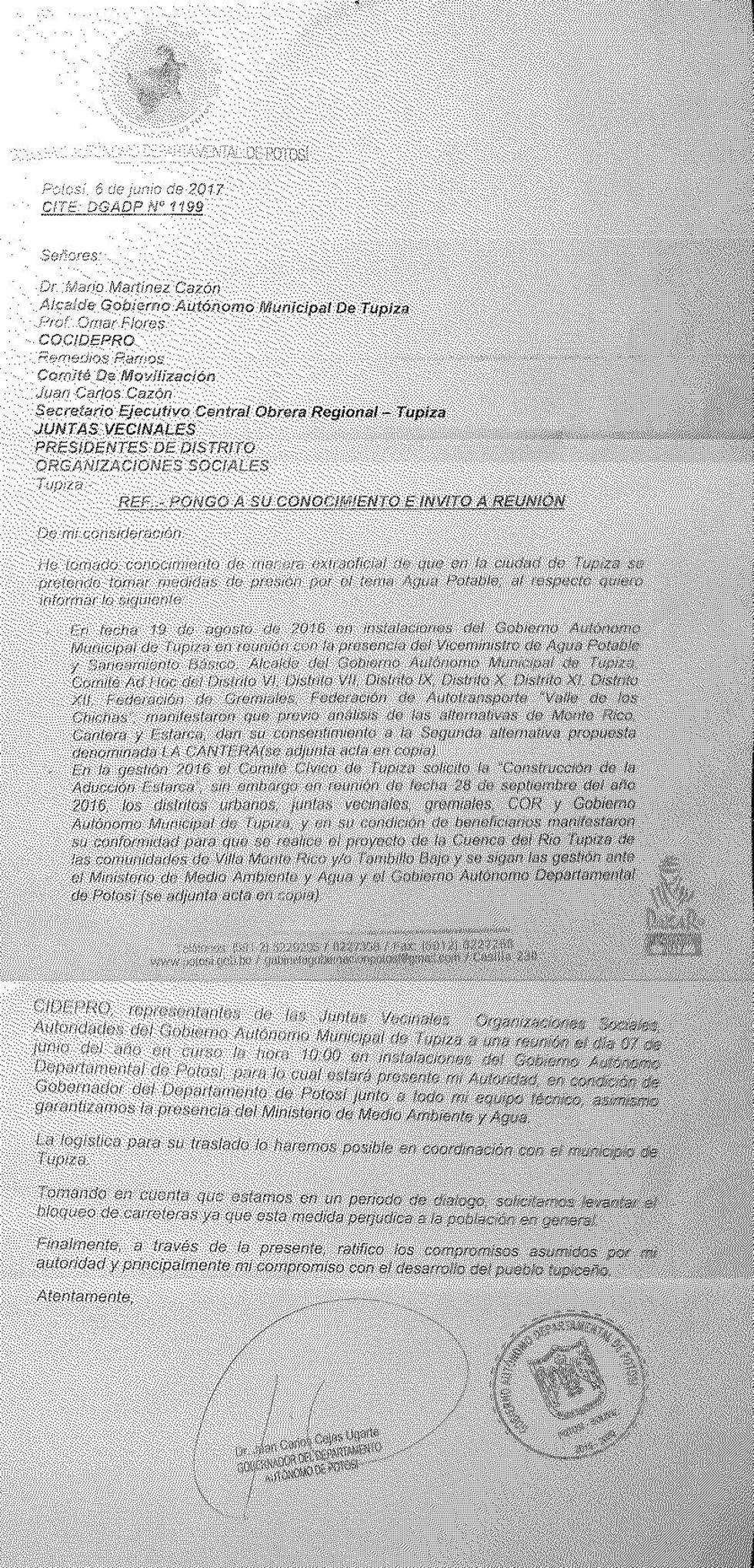 Esta es la carta enviada por el GADP a varios sectores de Tupiza.
