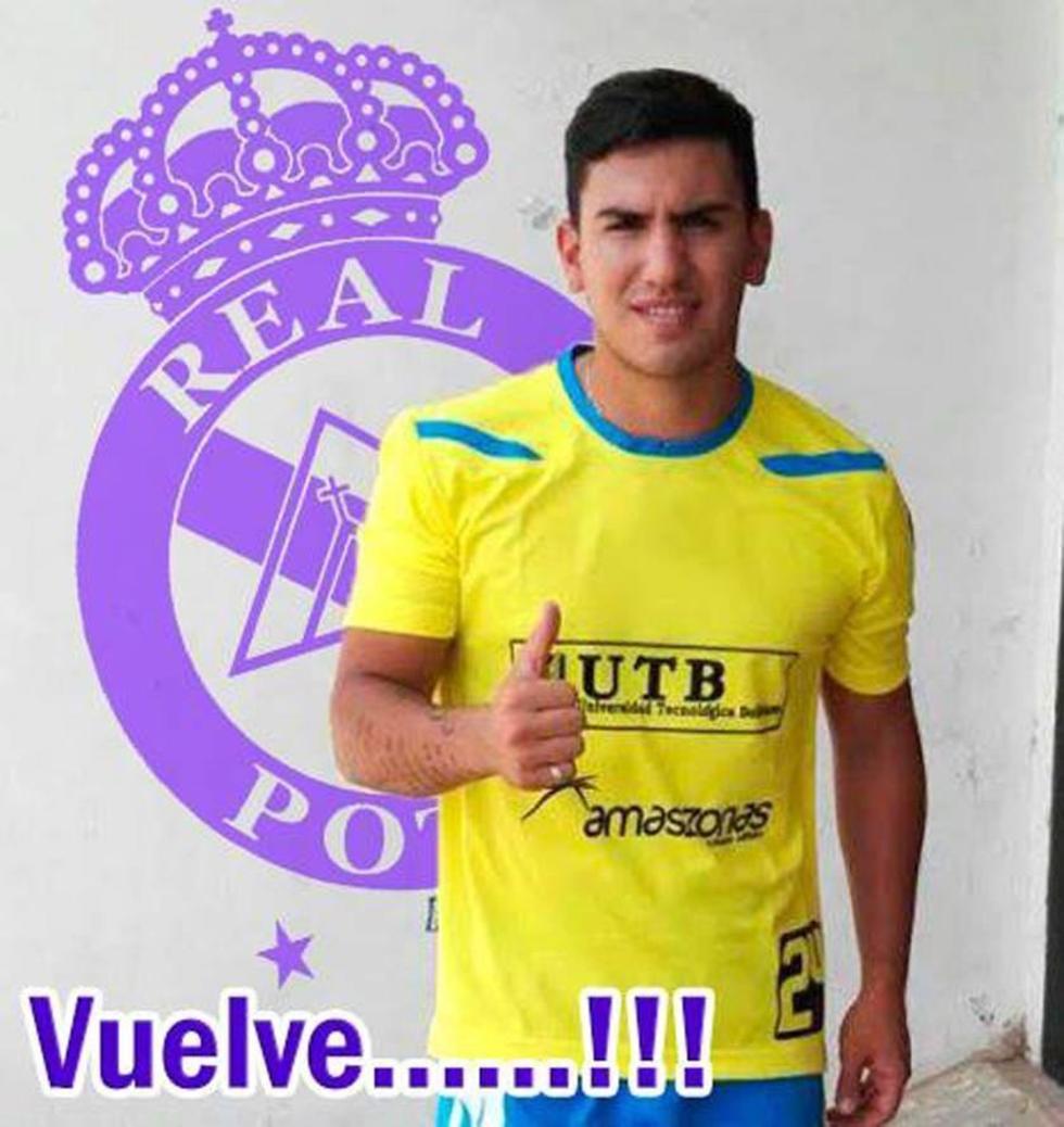 El atacante Alexis González (foto de la página web del club Real Potosí)