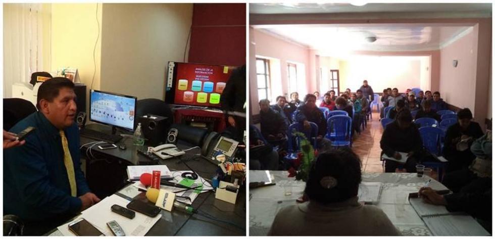 El director, Elio Martínez, brinda una conferencia de prensa. Los funcionarios se reunieron ayer en ampliado.
