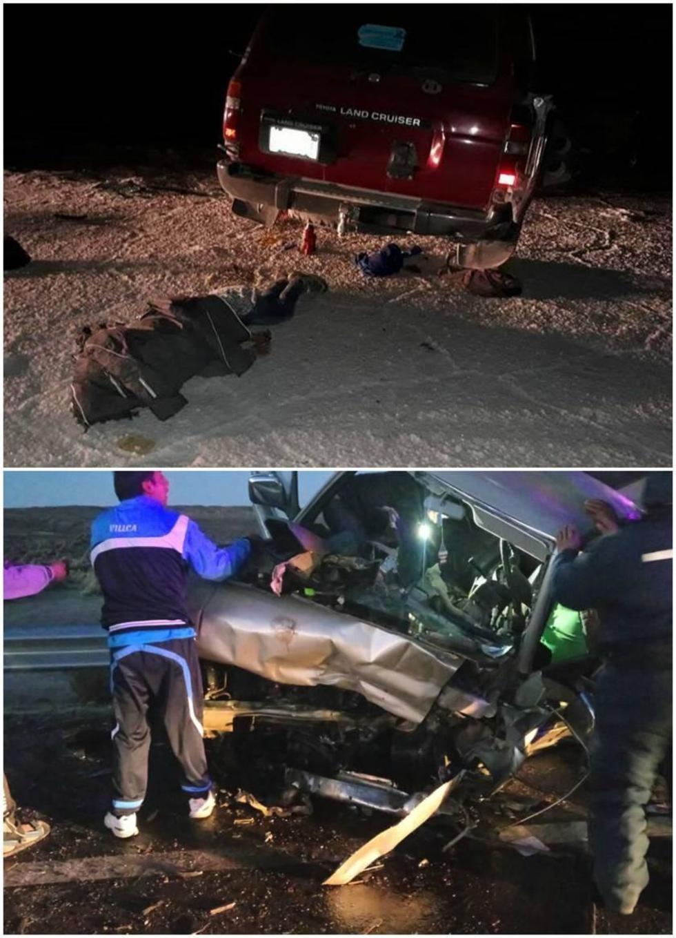 Arriba: el accidente en el salar. Abajo: la colisión de los vehículos.