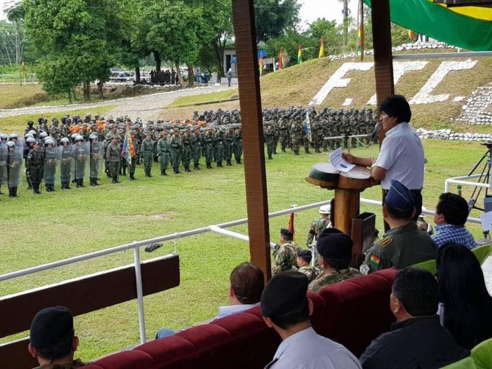 El presidente Evo Morales en el acto del informe de la Felcn en la Localidad de Chimoré en Cochabamba.