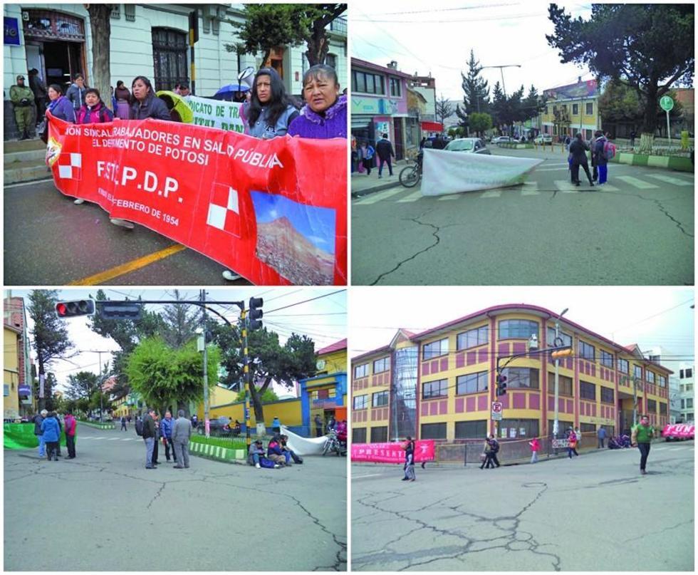 Los salubristas sindicalizados bloquearon las calles ayer.
