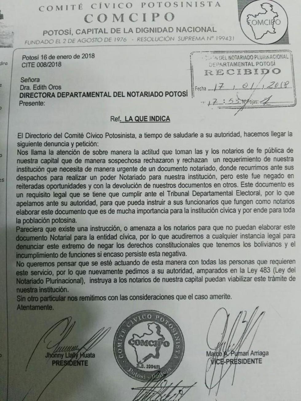 La denuncia de Comcipo y la respuesta de la directora del notariado.