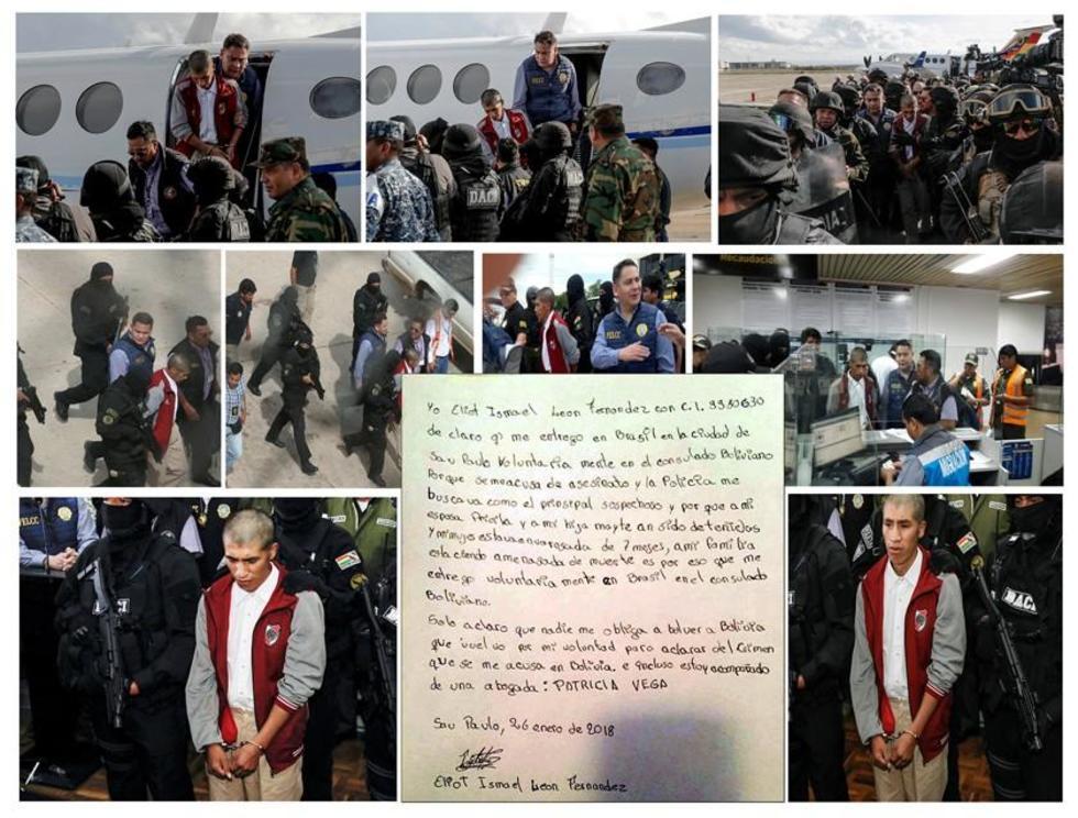 Esta es la secuencia fotográfica desde el momento en que el acusado llegó a Bolivia y fue presentado por el Ministerio