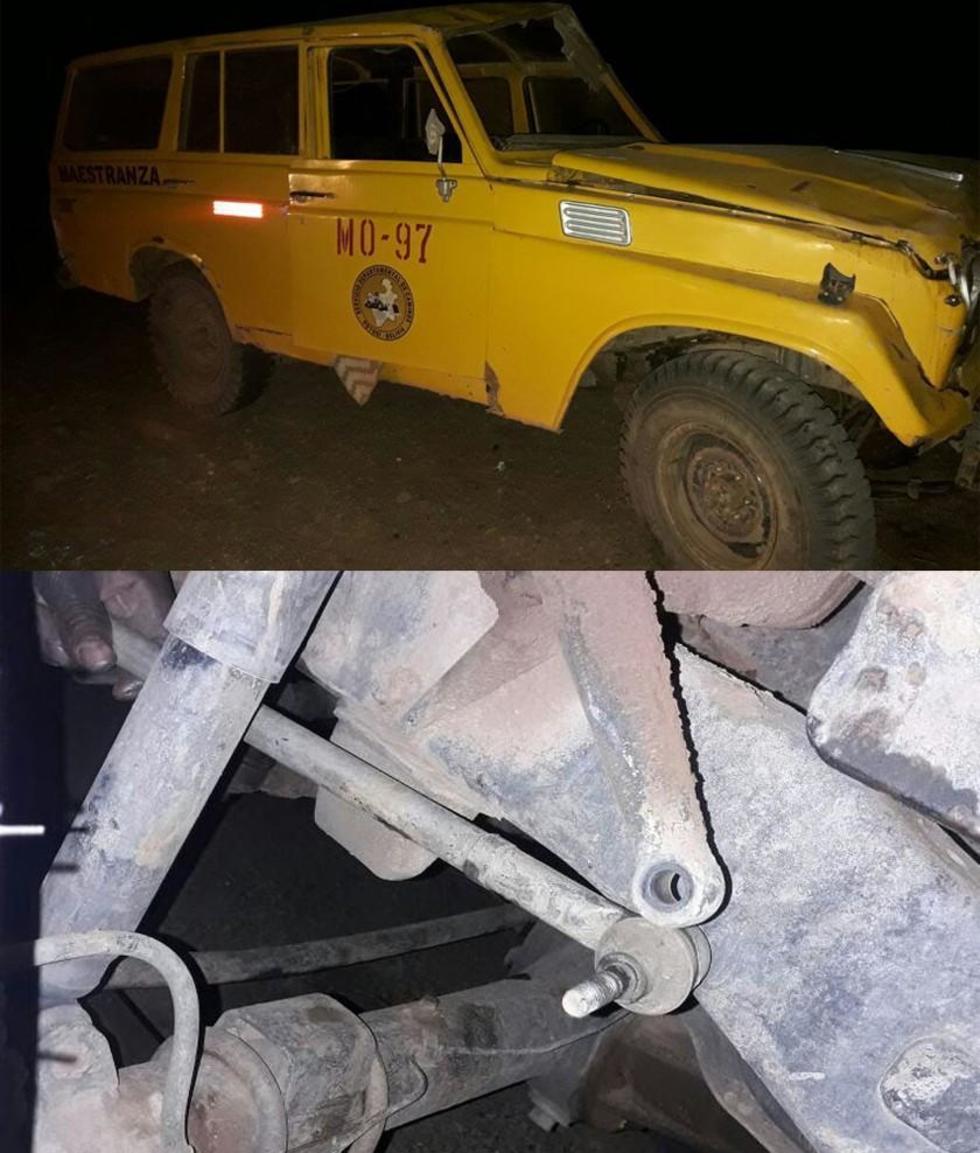 Arriba: el vehículo del Sedeca. Abajo: la supuesta falla mecánica.