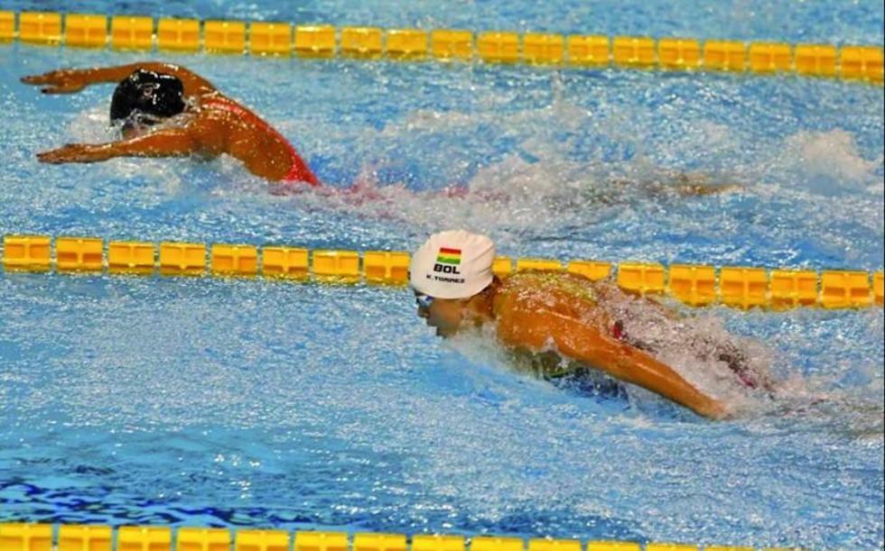 La deportista boliviana durante la competencia.