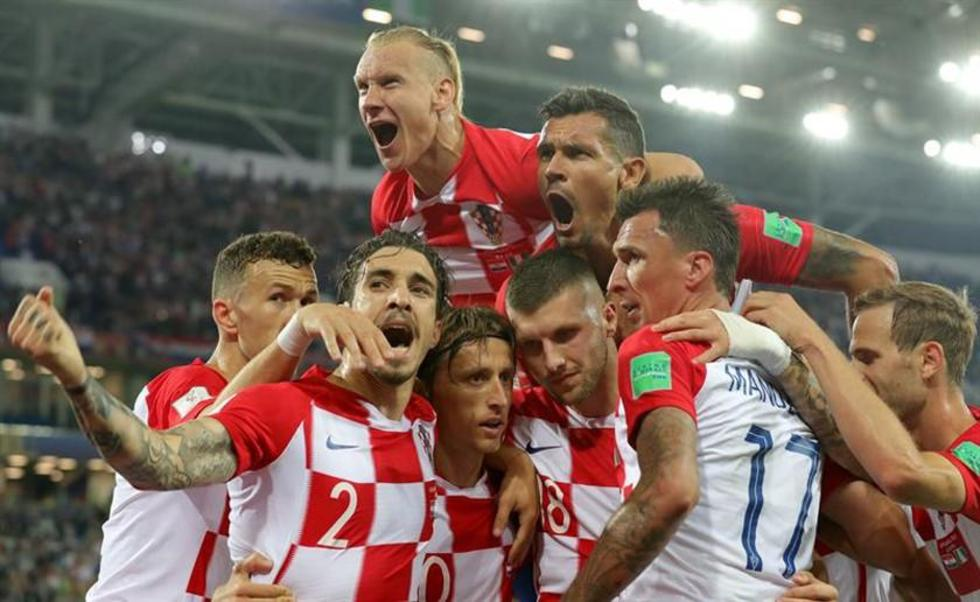 Los croatas celebran el triunfo.