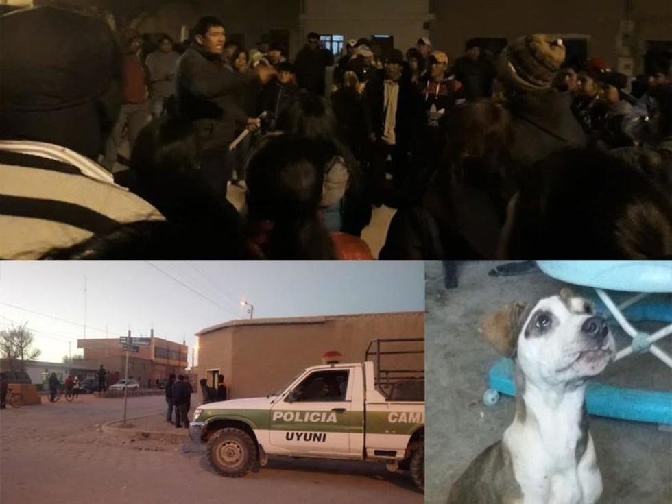 Arriba: la gente reacciona al saber del ataque del perro. Abajo: El carro policíal frente la casa donde ocurrió, y uno d