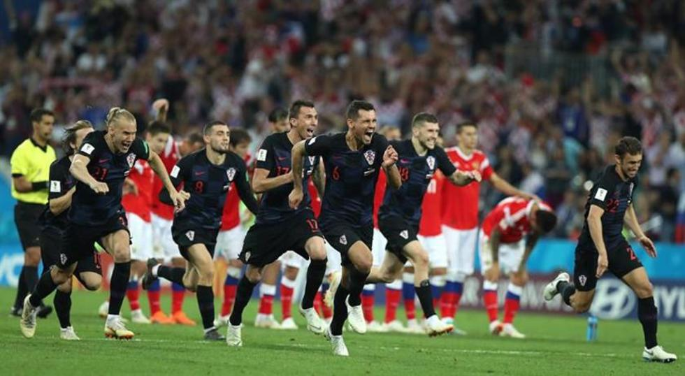 Los jugadores croatas celebran el triunfo.