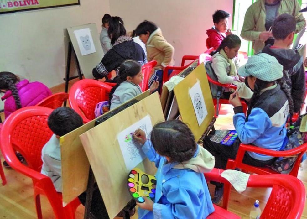 Los niños practican la técnica de la pintura.