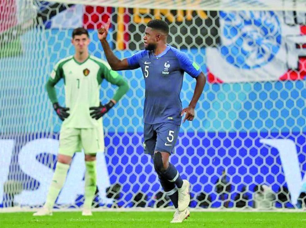 El francés Samuel Umtiti celebra su gol.