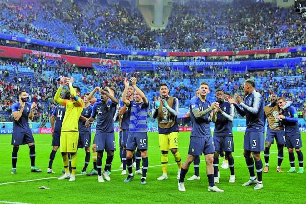 Los jugadores franceses celebran su pase a la final de la Copa del Mundo.