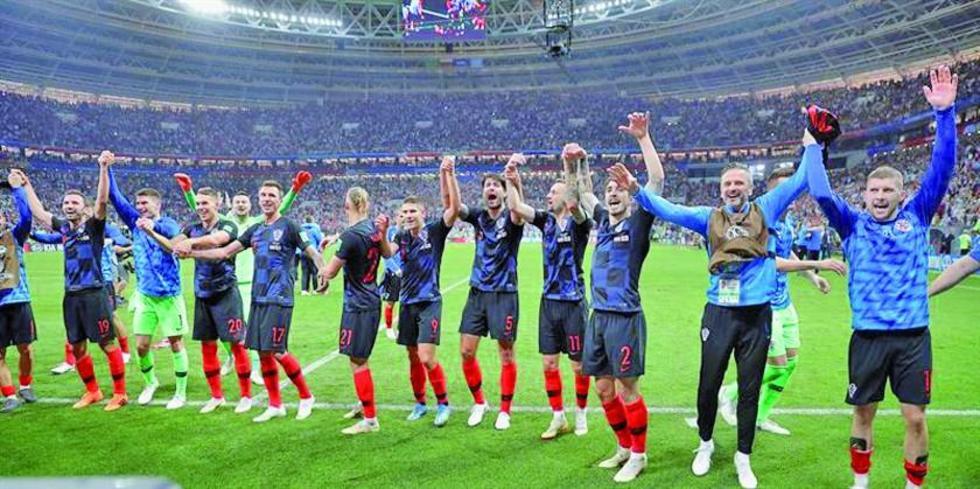 Los jugadores croatas celebran su pase a la final de la Copa del Mundo.