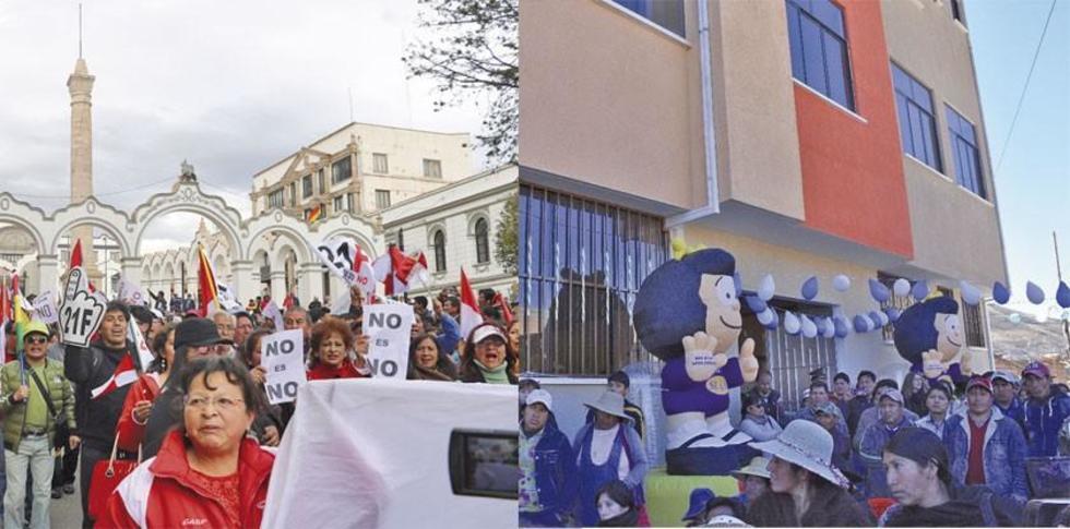 La marcha cívica de la tarde de ayer y la infraestructura que costó 3.7 millones de bolivianos.