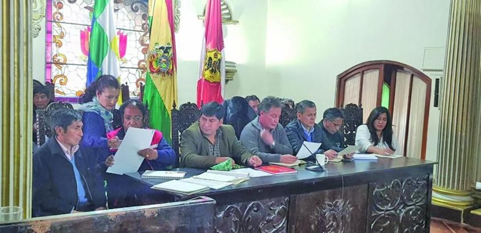 Imágenes de la reunión desarrollada ayer en ambientes del Gobierno Autónomo del Departamento de Potosí.