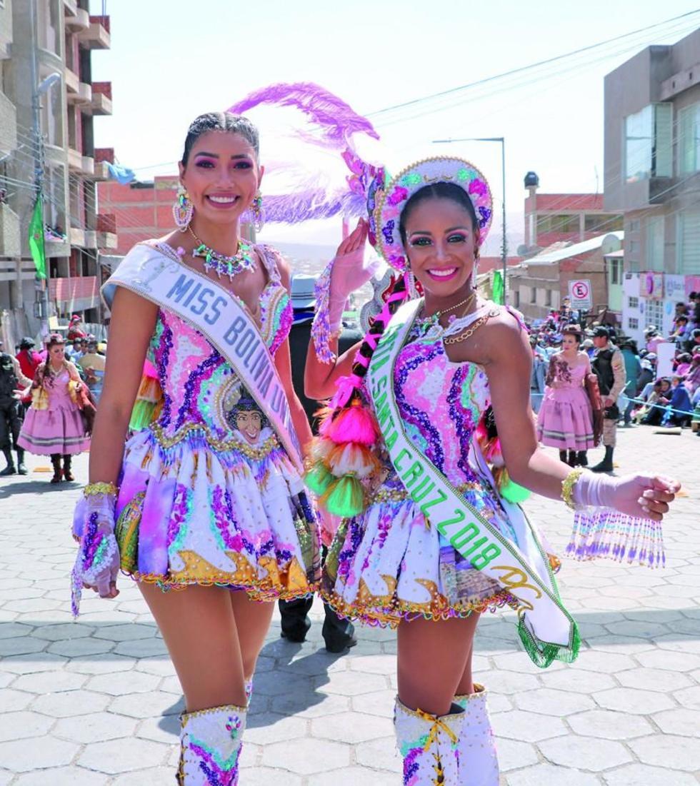 Joyse Prado, Miss Bolivia; Mariana Pinedo y señorita Santa Cruz, participaron en la festividad.