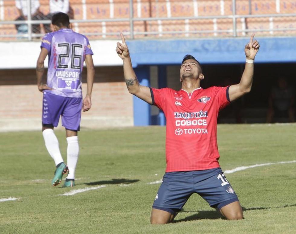 Gabriel Ríos celebra su tercer gol.