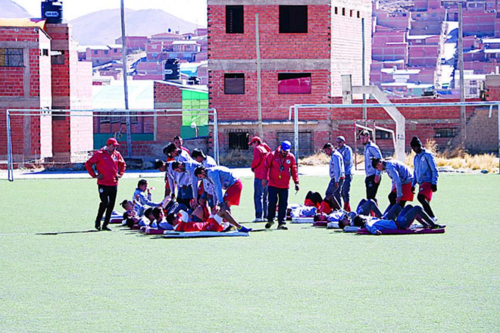 El equipo durante el cierre de sus entrenamientos.