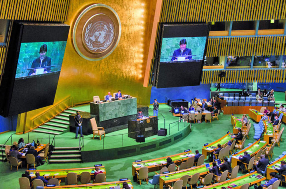 PEDIDO. El presidente de Bolivia solicita a las naciones acompañar la demanda del mar planteada ante la CIJ de La Haya.