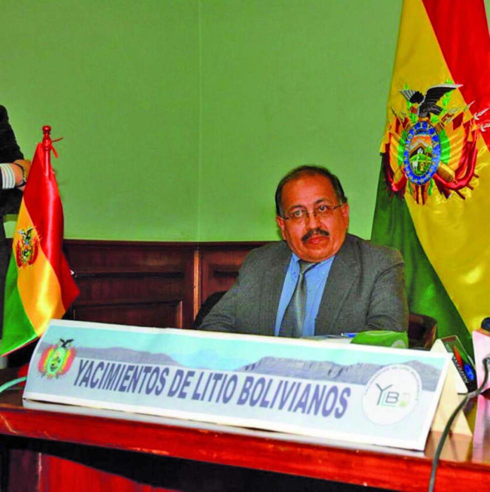 El ejecutivo de Yacimientos de Litio Bolivianos (YLB), Juan Carlos Montenegro.