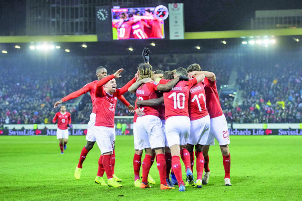 El seleccionado de Suiza festeja su triunfo.
