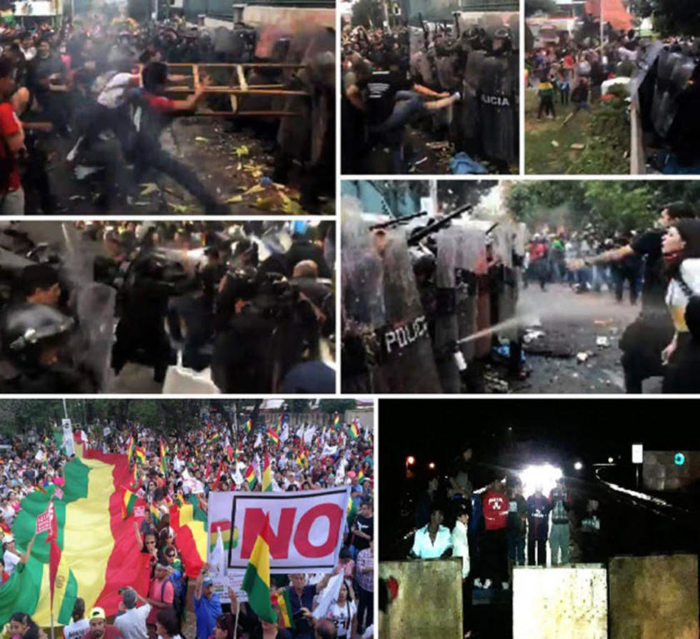 """Coreaban: """"¡fusil, metralla, el pueblo no se calla!""""; """"¡Bolivia dijo No!"""" y """"Evo de nuevo; ¡huevo, carajo!""""."""