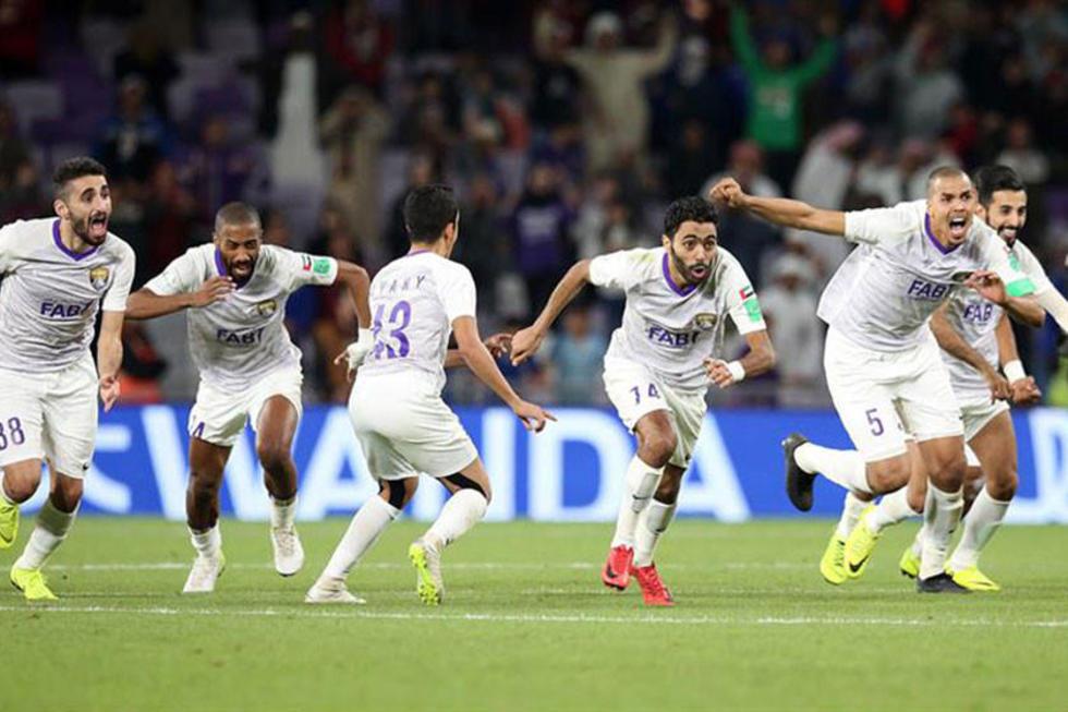 Los jugadores del Al Ain celebran la victoria.
