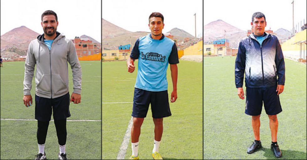 Los futbolistas Ignacio García, Edwin Rivera y Dimar Ortega.