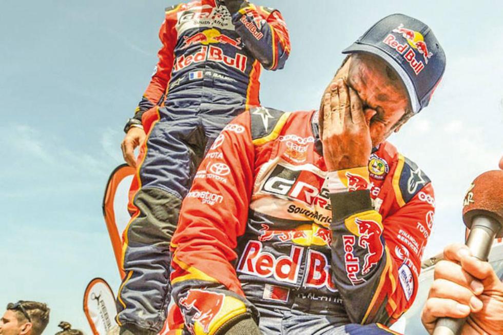 Con lágrimas en los ojos el piloto de Toyota festeja su tercera corona.