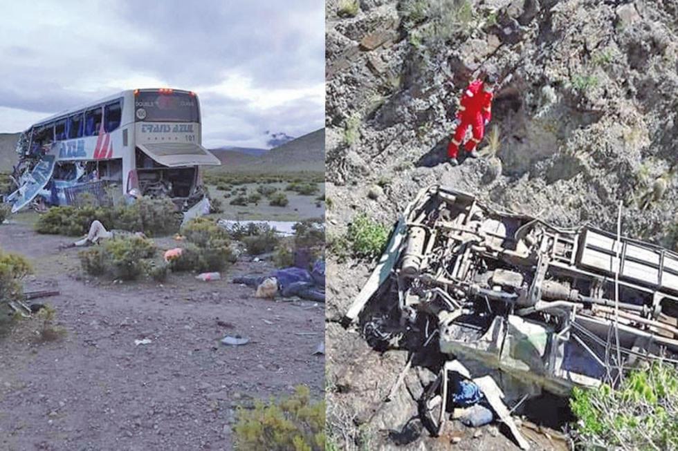 Los dos accidentes de tránsito ocurrieron cuando los buses transitaban caminos que unen a Oruro y Tarija con Potosí.