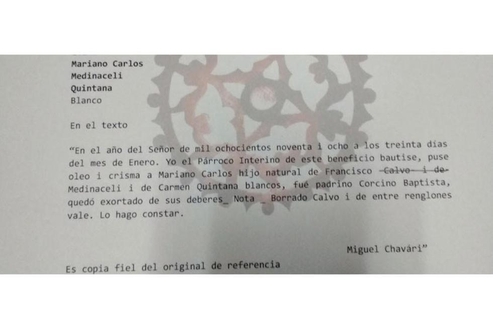 Certificado del ABAS sobre el contenido de la partida de bautismo de Carlos Medinaceli.