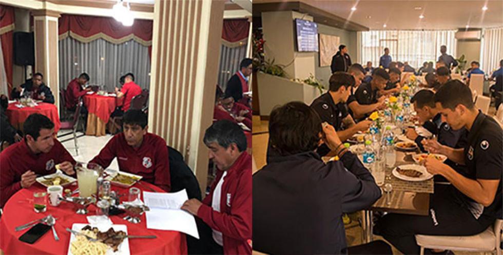 Los jugadores de los dos equipos que se enfrentan hoy, anoche durante su concentración.