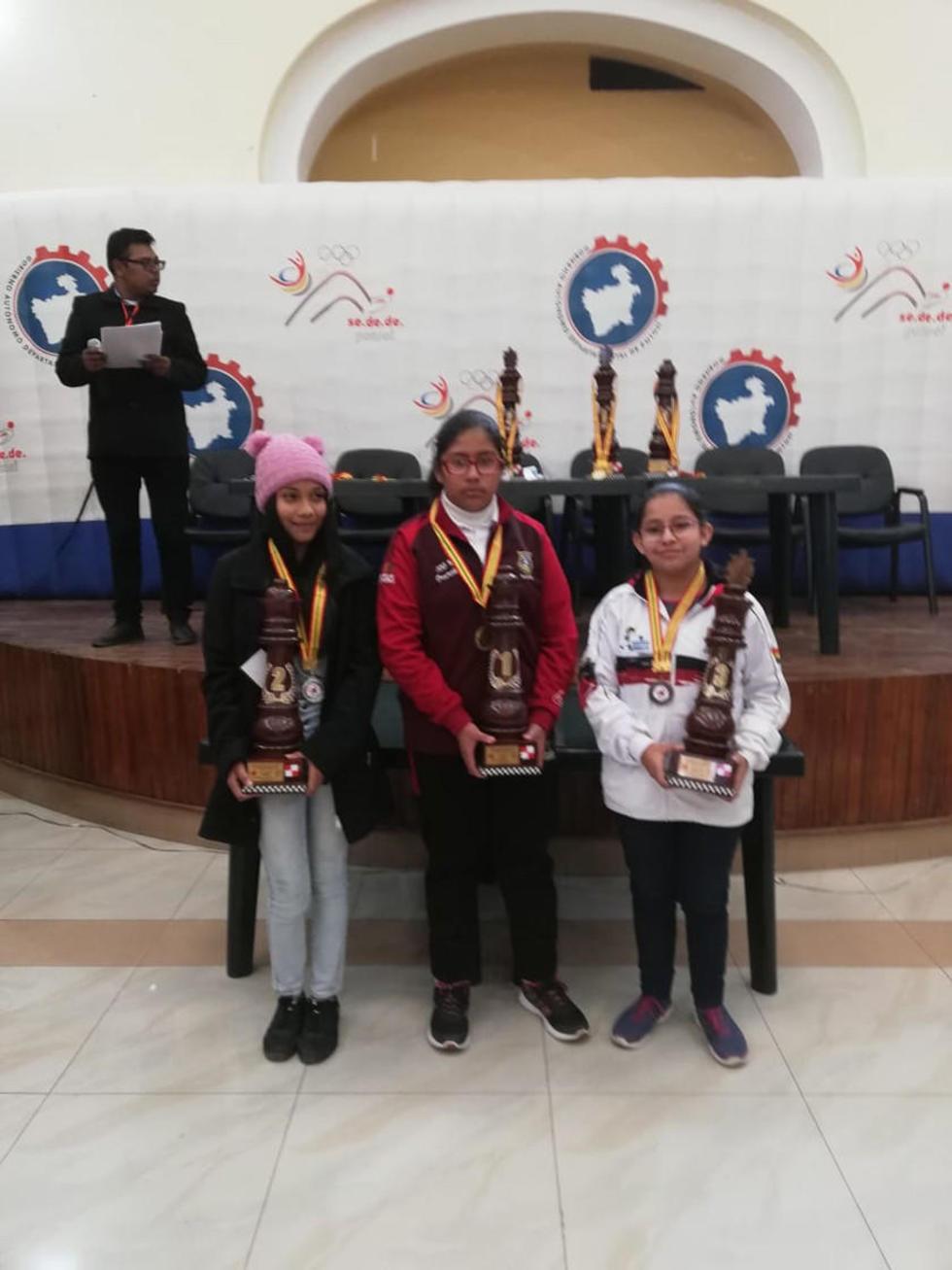 Gloria Yepez, Milka Beltrán y Nathalia Bustillos portan sus premios.