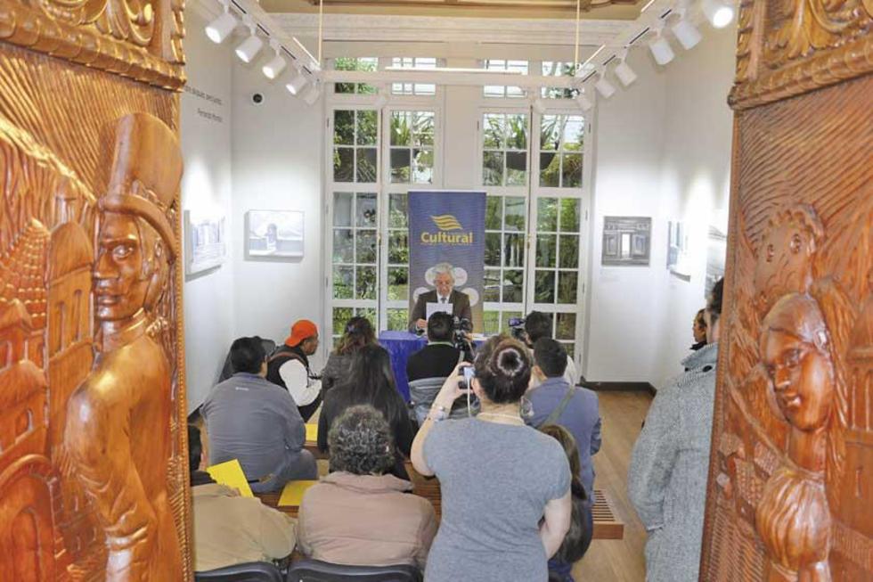 La conferencia de prensa en la Fundación Cultural del Banco Central de Bolivia (Fcbcb).