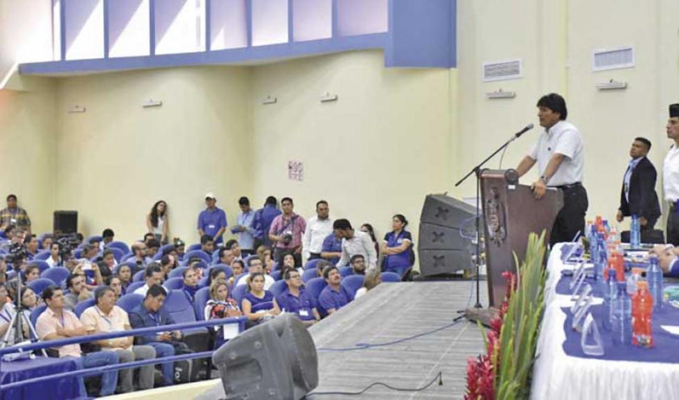 El presidente Evo Morales en la IX Cumbre de Seguridad Ciudadana en la ciudad de Trinidad.