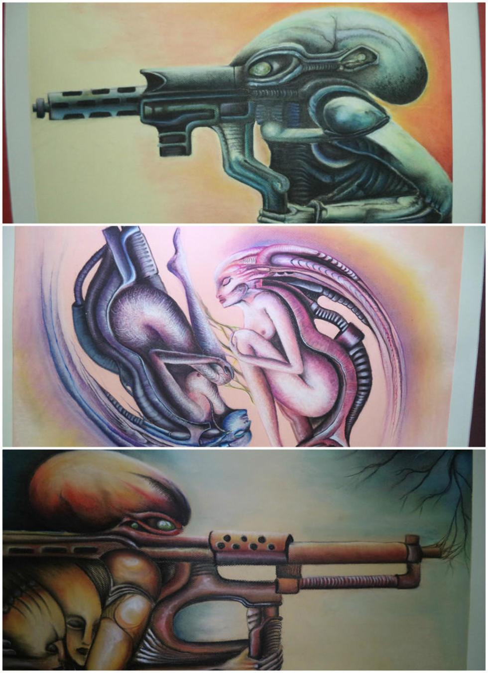 Figuras humanoides destacan la imaginación del artista.