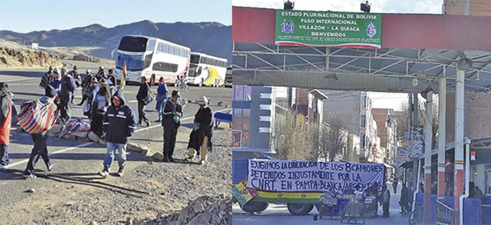 Izquierda: las medidas de presión en Ravelo. Derecha: el bloqueo en Villazón.