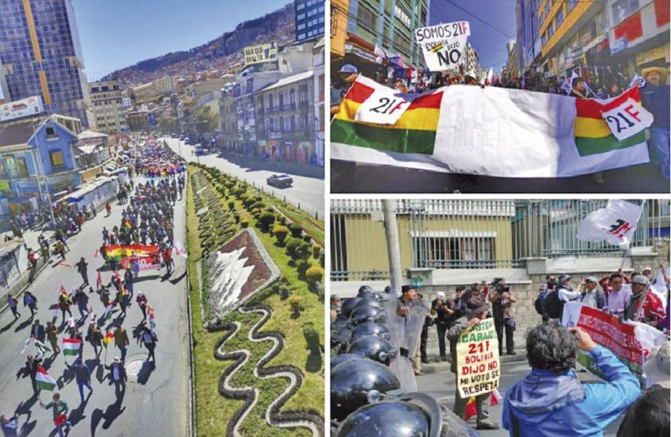 Demandan el respeto al referéndum del 21 de febrero de 2016, que rechazó la repostulación de Evo Morales.