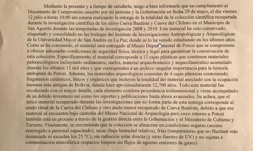 Parte central de la carta enviada al gobernador.