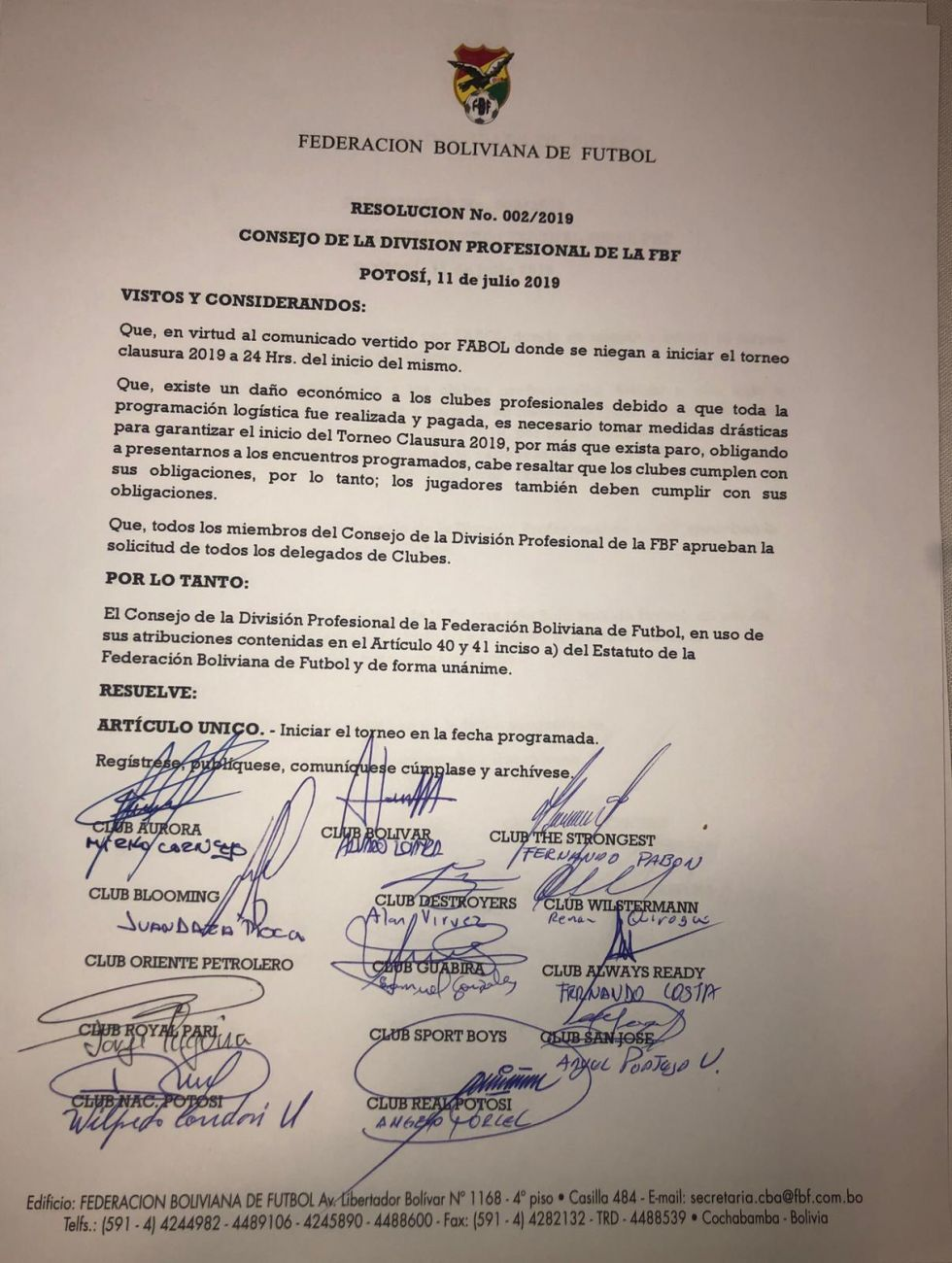La resolución del consejo  la División Profesional de la Federación Boliviana de Fútbol