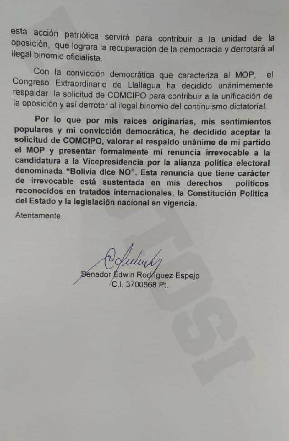 La carta de renuncia presentada por el candidato vicepresidencial