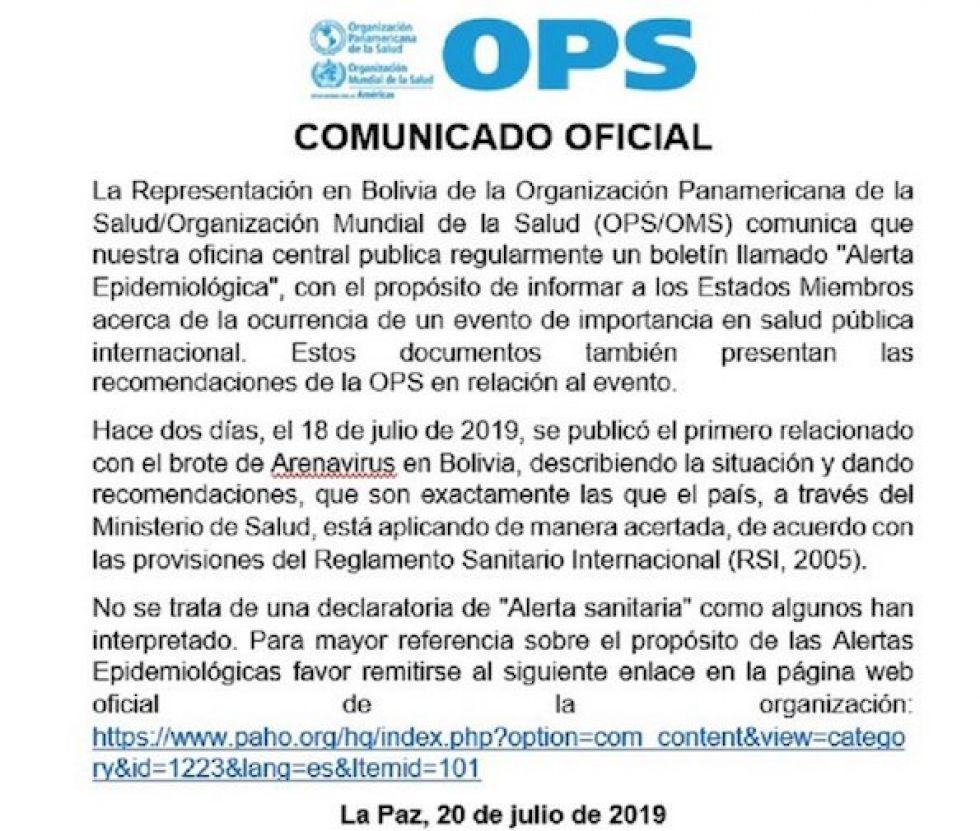 La OPS aclara que no emitió alerta sanitaria por el arenavirus