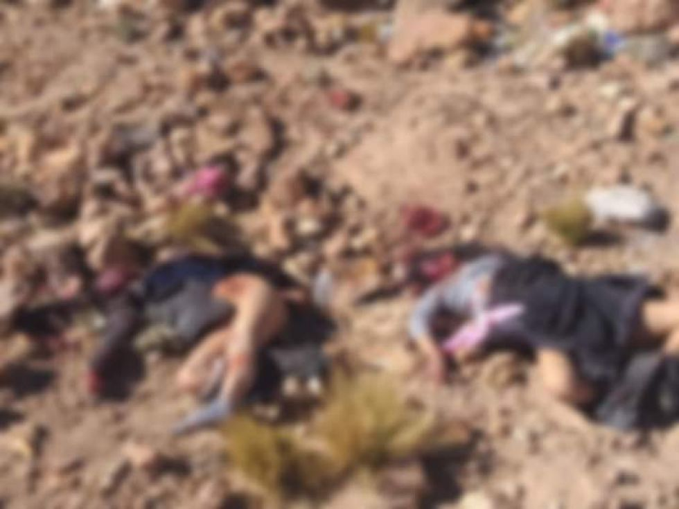 Sus cuerpos en el cerro.