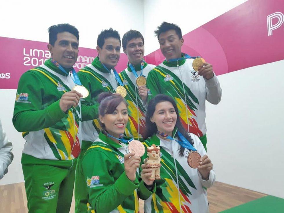 El equipo boliviano de ráquet.