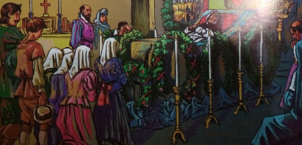 Representación de la muerte de fray Vicente Bernedo. Dibujo de Alberto Vino Cala.