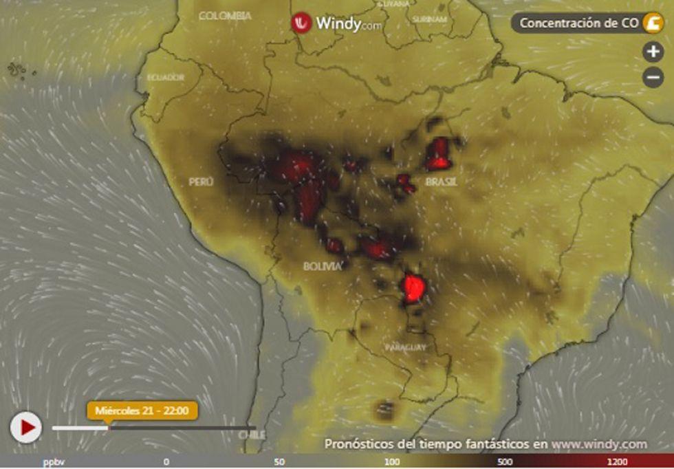 Este mapa muestra la cantidad de contaminación que se acumula.